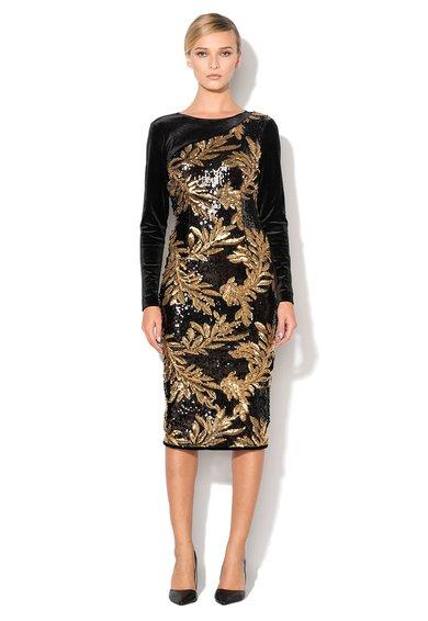 NISSA Rochie negru cu auriu catifelata cu paiete