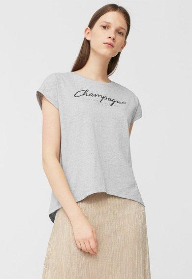FashionDays.ro: Tricou gri cu imprimeu text Stones MANGO