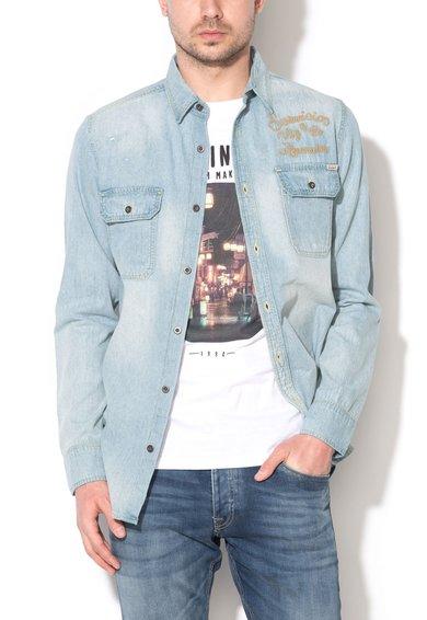 JackJones Camasa slim fit bleu din denim cu broderie