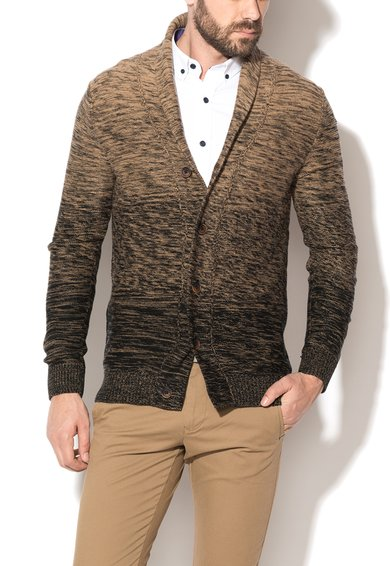 FashionDays.ro: Cardigan maro deschis cu negru melange Elliot Selected Homme