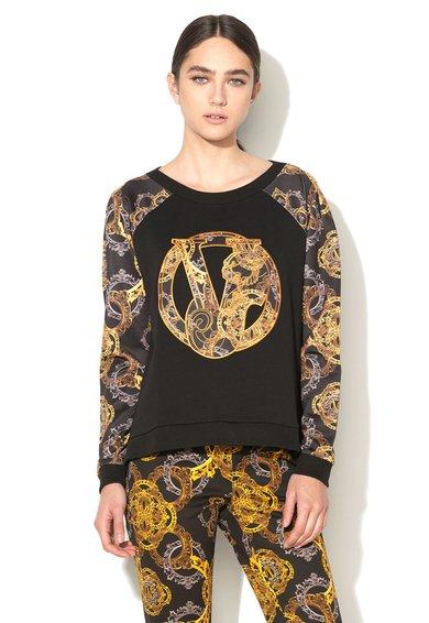 Bluza sport neagra cu imprimeuri emblematice de la VERSACE JEANS