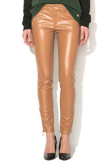 FashionDays.ro: Pantaloni maro deschis de piele sintetica VERSACE JEANS