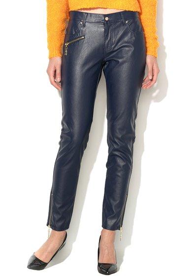 FashionDays.ro: Pantaloni albastru inchis de piele sintetica VERSACE JEANS