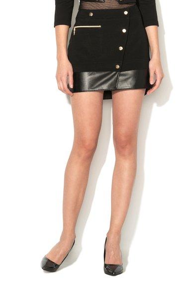 FashionDays.ro: Fusta scurta neagra elastica si cu detalii de piele sintetica VERSACE JEANS