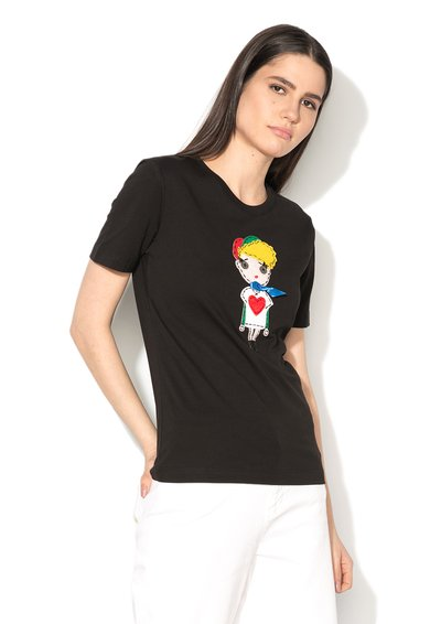 Tricou negru cu aplicatie multicolora de la Love Moschino