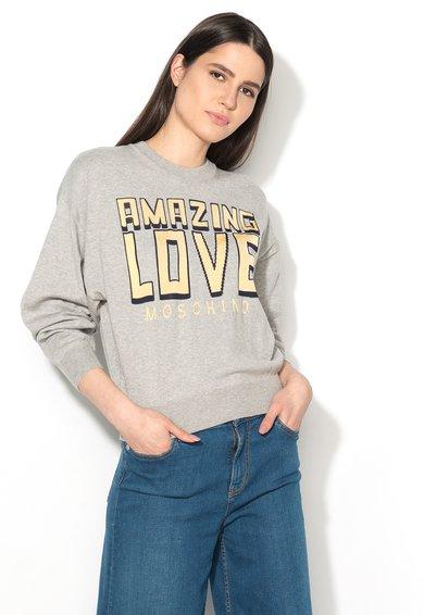 Pulover gri deschis melange tricotat fin cu imprimeu de la Love Moschino