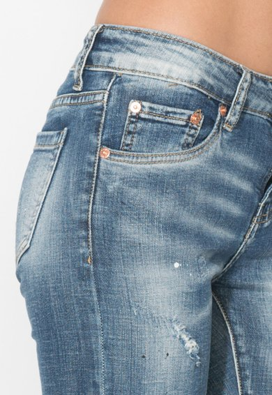 Zee Lane Denim Jeansi crop albastri cu pete decorative Femei image_6