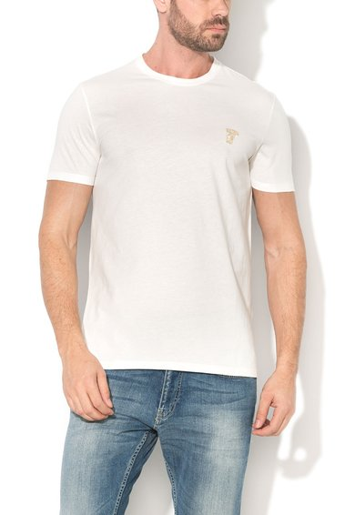 Versace Collection Tricou alb cu broderie logo