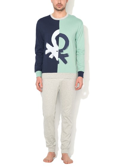 Pijama verde pal cu bleumarin de la Undercolors of Benetton