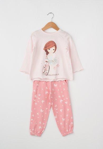 Pijama roz pal si roz grenadine cu imprimeu de la Undercolors of Benetton