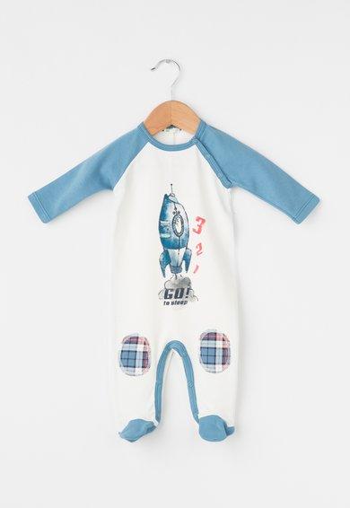Body cu botosei alb cu albastru si nava spatiala de la Undercolors of Benetton