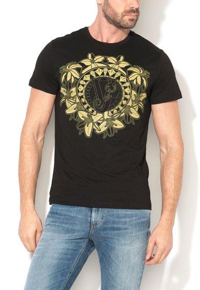 Tricou slim fit negru cu imprimeu logo de la VERSACE JEANS