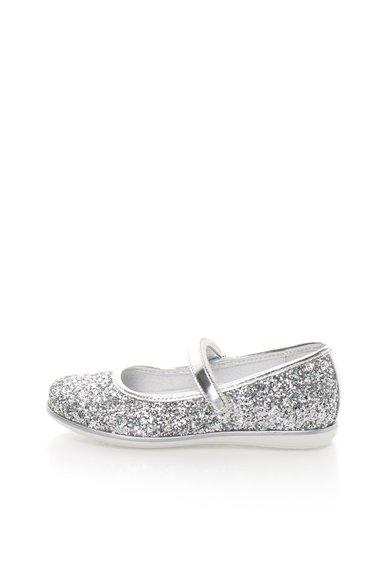 Pantofi Mary Jane argintii stralucitori de la Zee Lane Kids