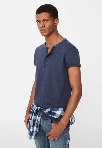 FashionDays.ro: Tricou bleumarin melange cu fenta cu nasturi Julian MANGO