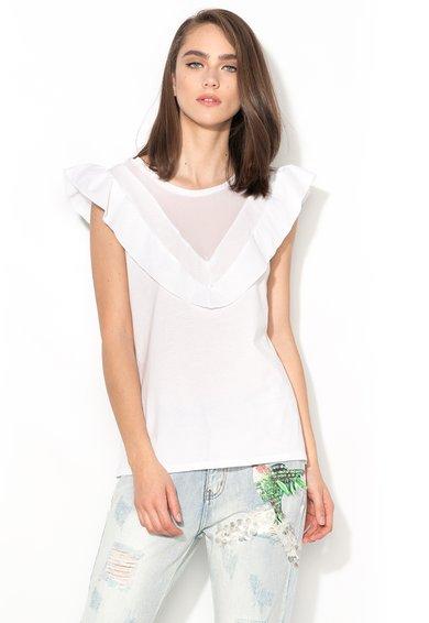 Silvian Heach Collection Tricou alb cu volane si insertie de sifon Corries