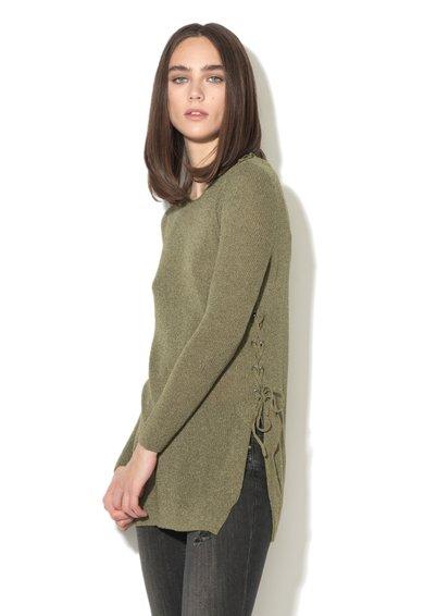 Only Pulover verde militar melange tricotat fin Beth