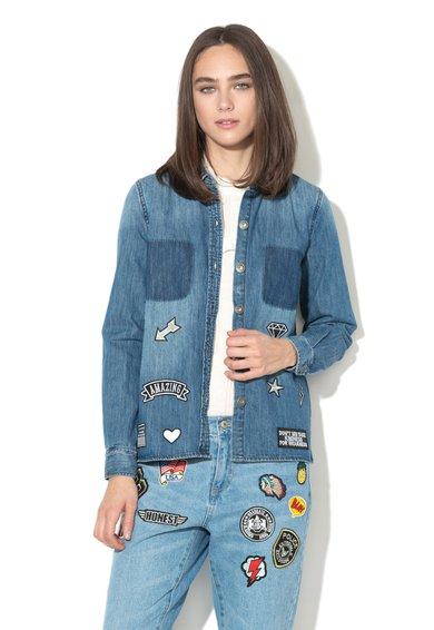 FashionDays.ro: Camasa albastra din denim cu aplicatii Bech Only