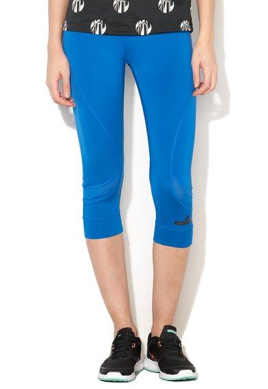 adidas Colanti crop albastri cu insertii din plasa pentru alergare