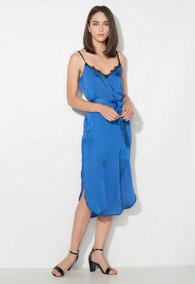 Rochie albastra tip furou din satin cu insertie din dantela Zee Lane Collection