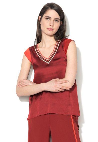 Sisley Bluza rosu inchis matasoasa cu garnituri elastice in dungi