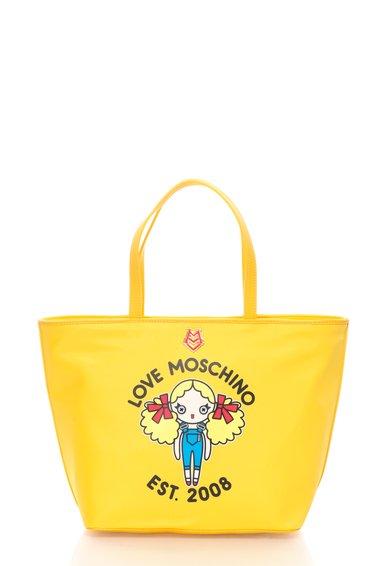 FashionDays.ro: Geanta shopper galbena cu imprimeu Love Moschino
