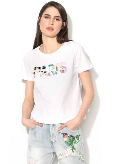 Silvian Heach Collection Tricou alb cu imprimeu si paiete Suboticar