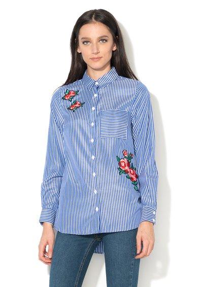 FashionDays.ro: Camasa albastru cu alb in dungi cu aplicatii brodate New Look