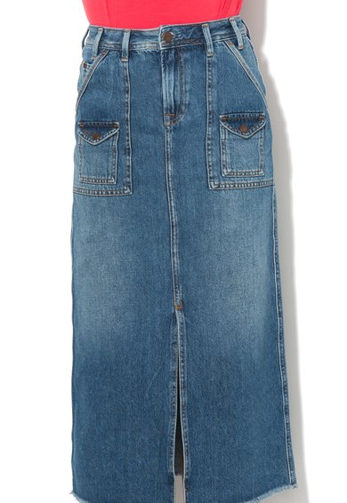 Pepe Jeans London Fusta lunga regular fit albastru inchis din denim Pippa Femei image_4