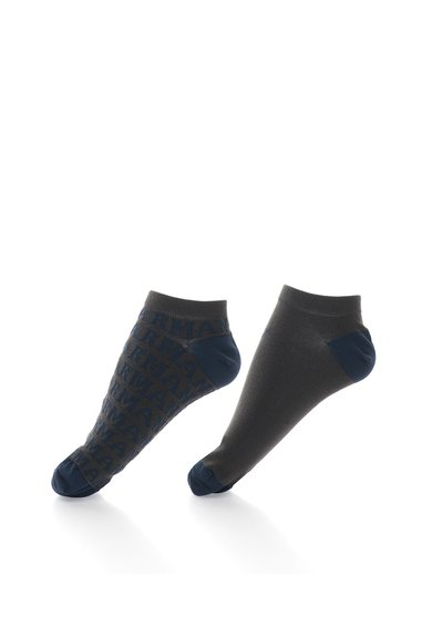 Emporio Armani Set de sosete scurte gri inchis cu bleumarin – 2 perechi