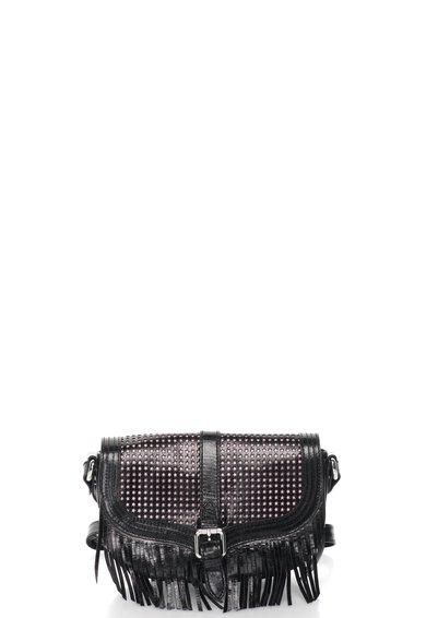 FashionDays.ro: Geanta crossbody neagra de piele cu franjuri Just Cavalli