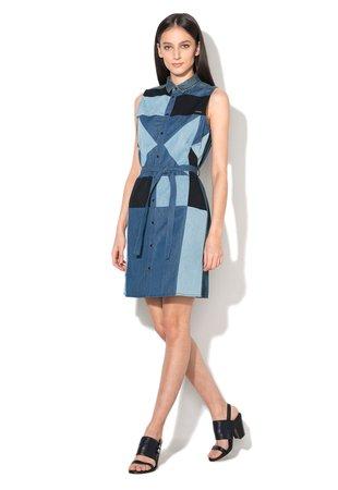 Rochie tip camasa albastra cu design patchwork Day