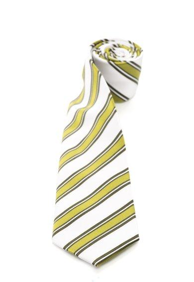 FashionDays.ro: Cravata alb cu verde de matase cu dungi Vincenzo Boretti