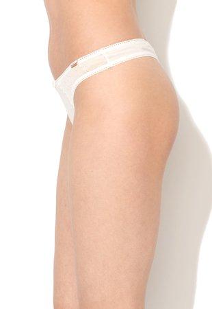 Chiloti tanga alb unt cu insertii de dantela Estelle