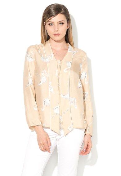 FashionDays.ro: Camasa bej si alb de matase cu pasari flamingo Eiffel Pennyblack