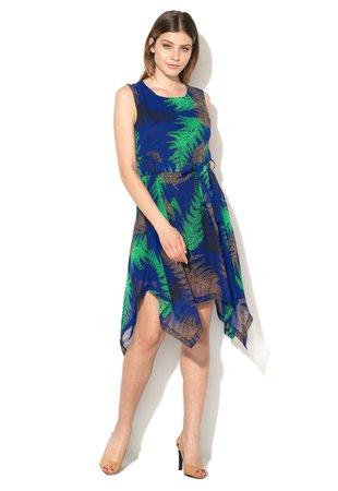 Rochie albastru indigo asimetrica de sifon