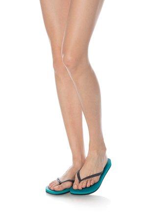 Papuci flip-flop gri antracit cu turcoaz