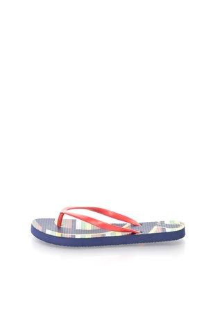 Papuci flip-flop rosu cu bleumarin in dungi