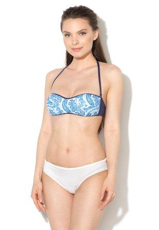 Sutien de baie bandeau alb si albastru indigo cu model orien...